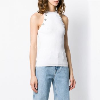 Runway Designer Metal Buttons Knitted Top Women 2020 Spring Sexy Casual Halter Sleeveless Top Mujer