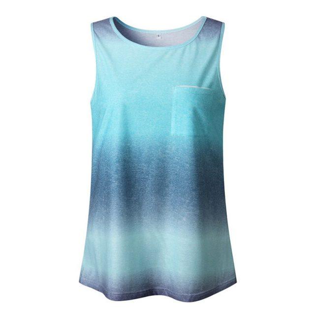 Women's Sleeveless Tanks Top Vest Round Neck Gradient Printed Sleeveless T-Shirt Tunic top