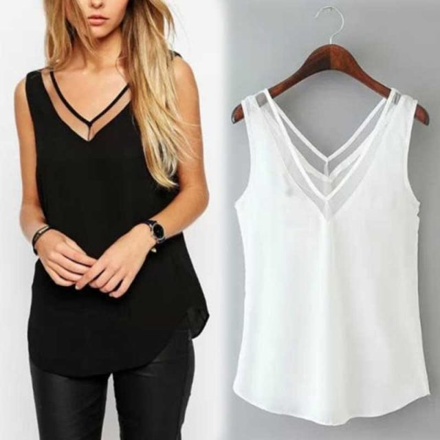 2019 Hot Sales Droppshiping Fashion Chiffon Slim Loose V-Neck Sleeveless Vest Shirt Blouse Tops For Women Girls BFJ55