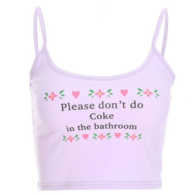 SAGACE Slash neck Vest Please don't do coke in the bathroom cropTank Tops Letter Print Vest Camisole Summer Ladies Short Tops
