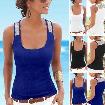 2019 New Women Sleeveless Vest Sequin Blouse Casual Tank Summer Beach Tops T-Shirts VN 68
