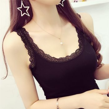 Hot Sale Summer Women Solid Lace Camis Female Lace Knitting Vest Sexy Lace Camisole Woman U-Tank Tops