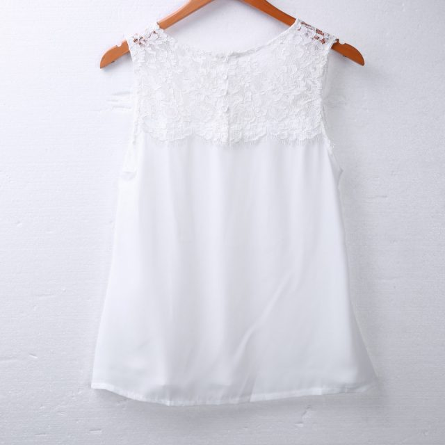 2018 Summer Fashion Women Vest Tops Sleeveless Lace Flower Round Neck Solid Pink White Casual Tank Tops