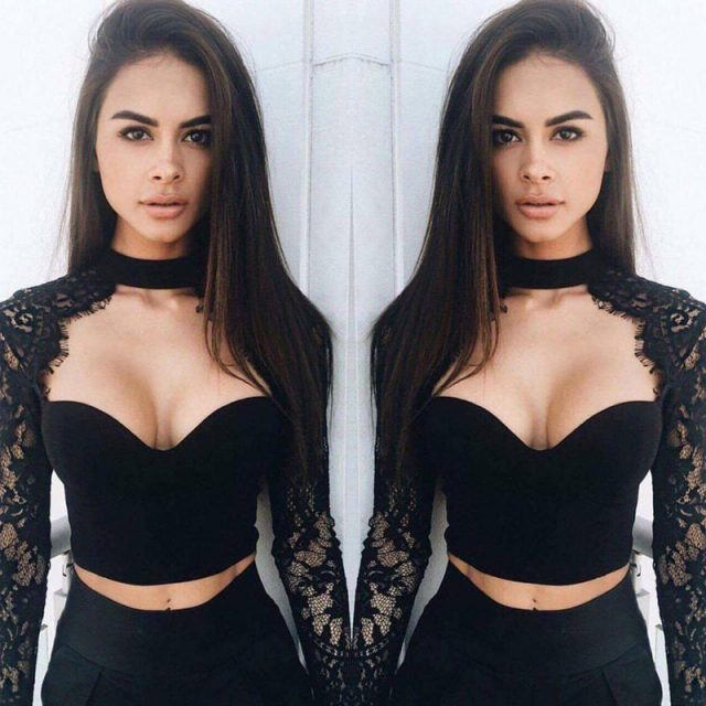 US STOCK Womens Slim Lace Flore Shirt Crop Tops Sexy Blouse Tops Black S-XL