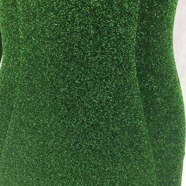 JillPeri New Spring Long Sleeve Green Glitter Dress Sexy Low Neck Stretch Bling Outfit Celebrity Party Puff Shoulder Mini Dress