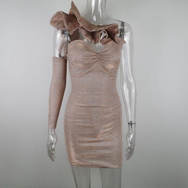 JillPeri Women Structured Ruffles Neck Sparkling Mini Dress Sexy Strapless Discolored Bodycon Outfit Bling Night Club Wear Dress