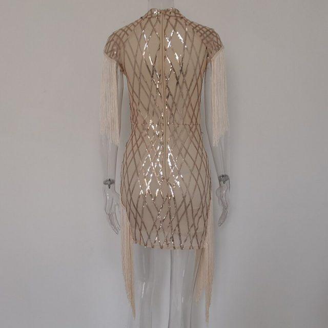 JillPeri Women Luxury Sequin Party Dress Slash Neck Tassel Plaid Mesh Sexy Daily Outfit Fashion Street Wear Mini Dress Vestidos