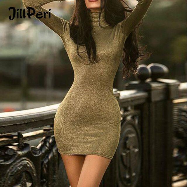 JillPeri Women Sexy Bodycon Long Sleeve Stretch Dress Stand Neck Army Green Shinny Daily Outfit Short Sheath Party Mini Dress