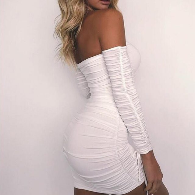 JillPeri New Autumn Long Sleeve Strap Ruched Lace Up Short Dress Women Off The Shoulder Solid Stretch Daily Outfit Bodycon Dress