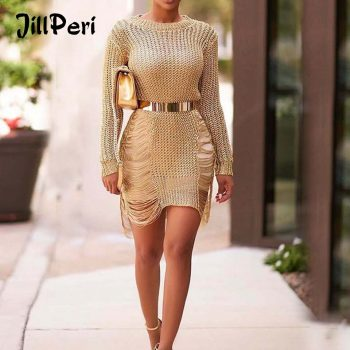 JillPeri Autumn Long Sleeve Metallic Solid Knitted Dress Fashion Tassel Hollow Out Sexy Daily Outfit Vacation Wear Mini Dress