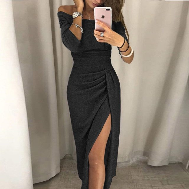 Formal Dress Women Elegant Long Sleeve Evening Party Dress New Solid Off Shoulder Women Dresses Sexy Club Dresses Roupa Feminina