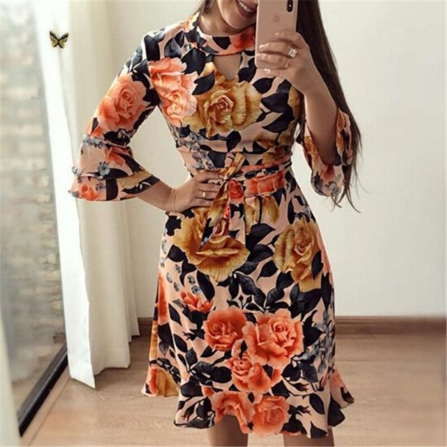 Fashion Floral Dresses Womens Dresses Vintage Women Flower Print Long Sleeve Mini Dress Casual Casual Retro Women Ruffle Dress