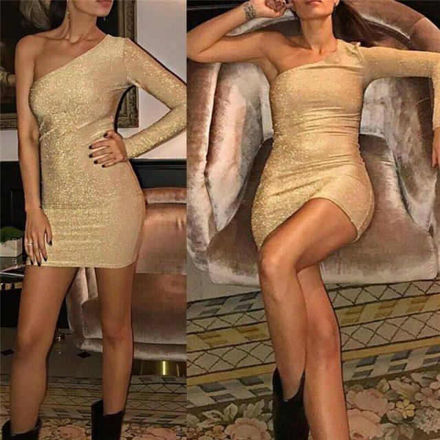 Fashion Women Dress Single Shoulder Long Sleeve Bodycon Dresses For Women Evening Party Dress Ladies Pencil Dresses Clubwear