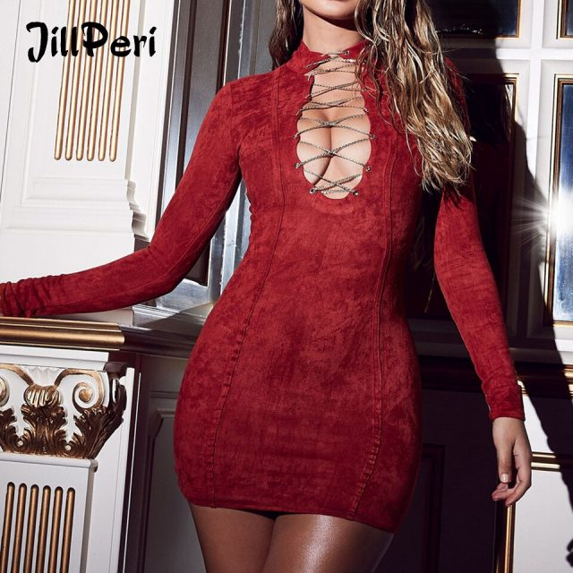 JillPeri Metalic Hollow Out Long Sleeve Bodycon Dress Women High Waist Solid Sexy Deep V Neck Club Casual Party Short Mini Dress