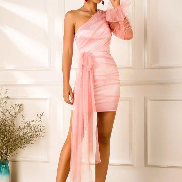 JillPeri Women One Shoulder Pink Drop Mini Dress Fashion Ruched Stretch Celebrity Birthday Party Mini Dress Elegant Solid Outfit