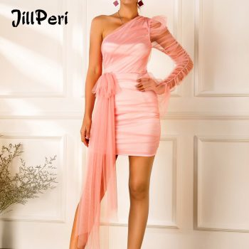 JillPeri Women One Shoulder Pink Drop Mini Dress Fashion Ruched Stretch Celebrity Birthday Party Mini Dress Elegant Solid Outfit