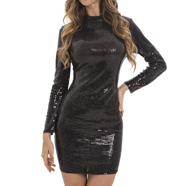 JillPeri Women Sexy Long Sleeve Sequin Dress Stand Neck Shinny Bodycon Daily Outfit Street Club Wear Bling Party Mini Dresses