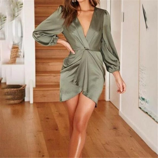 Women's Dress Elegant Ladies Dresses Bandage Bodycon Long Sleeve Evening Party Club Mini Dress Deep V Dresses Womens Clothing