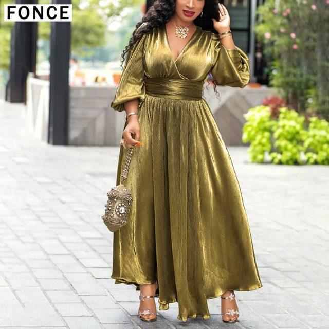 Luxury Golden Glitter Split V Neck Sexy Party Dress Long Women High Waist Tunic Night Club Lantern Sleeve Pleated Maxi Dresses