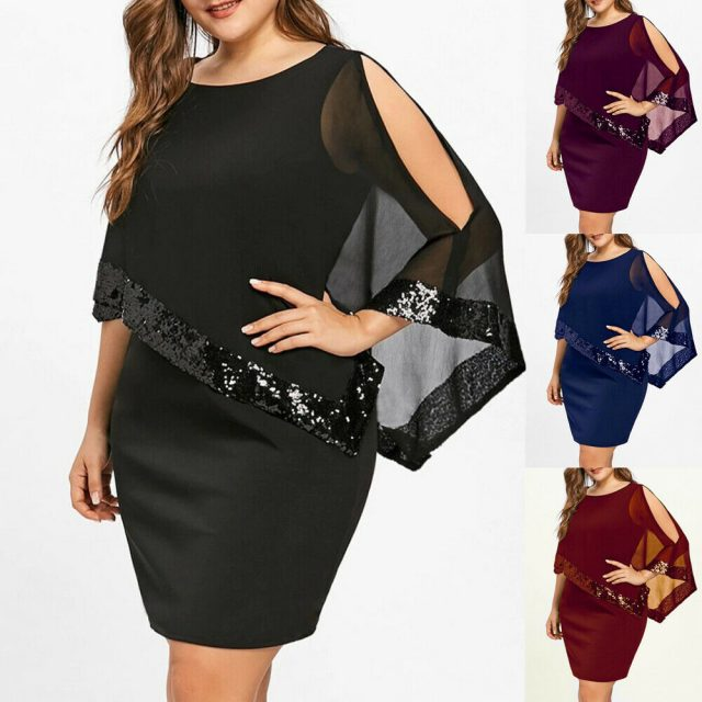 Evening Sexy Black Sequin Dress Women Befree Party vestidos Mesh streetwear Luxury Nightclub Dresses Short Mini Dress Plus Size