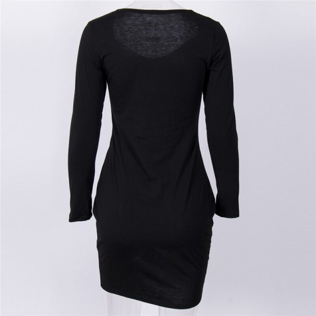 Fashion Women Dress Long Sleeve Knee-length Dress Bodycon Dresses For Women For Ladies Evening Party Dresses Ladies Club Wear