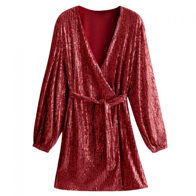 2020 Women Sexy Club luxury shiny Bandage Dress Tie Up V Neck Glitter Sexy Sequin Mini Dress Cocktail Wrap Vestidos #0338