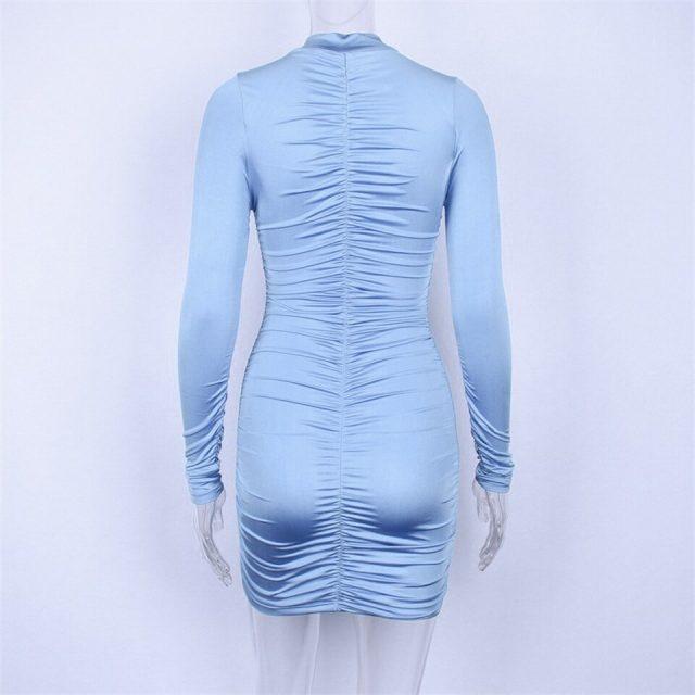JillPeri Women Long Sleeve Solid Ruched Dress Fashion Sheath Daily Outfit Stand Neck Bodycon Club Wear Party Mini Dress Vestidos