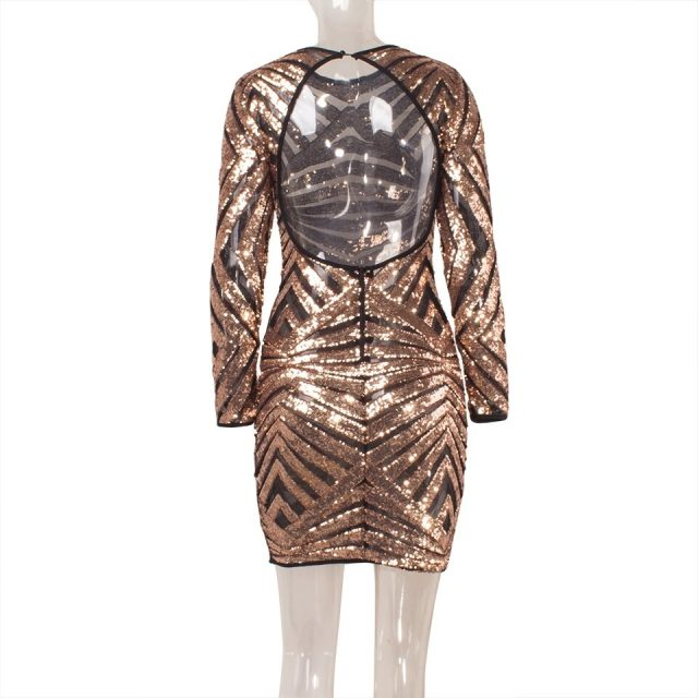 JillPeri New Autumn Women Long Sleeve Sequin Dress Sexy Backless Daily Outfit Geometric Bling Party Club Mesh Sheath Mini Dress