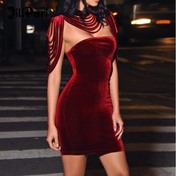 JillPeri Removable Collar Velvet Mini Dress Sexy Strapless Stretch Bodycon Outfit Solid Elegant Celebrity Birthday Party Dress