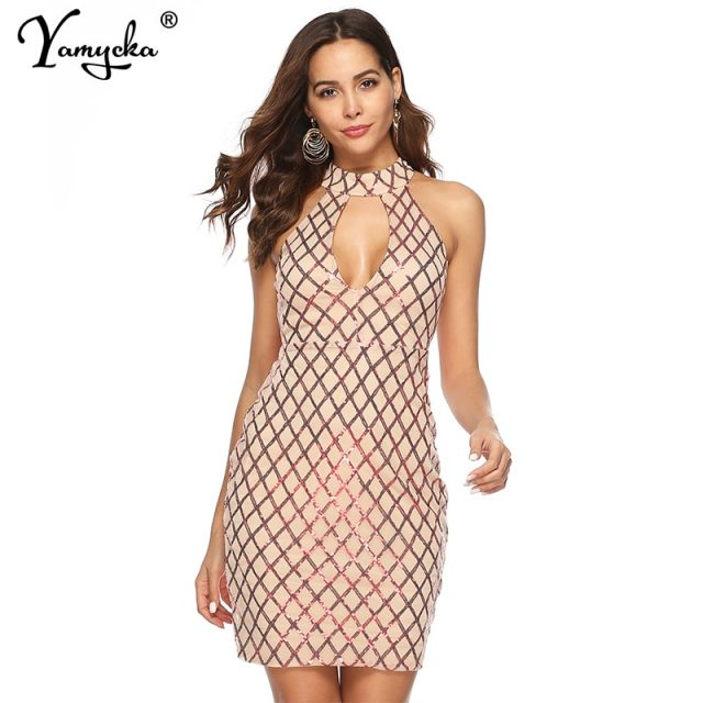 Sexy Plaid sequins summer dress women vintage Black Red office party dress elegant luxury Night club bodycon dresses vestido New