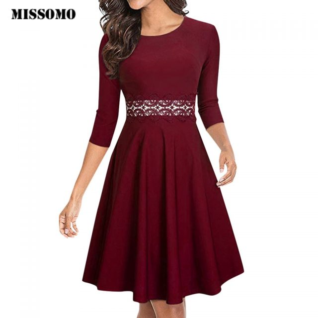 MISSOMO Luxury Dress Women Half Sleeve Cocktail A-Line Embroidery lace Party Wedding Guest Dress Formal Dress Party Gown