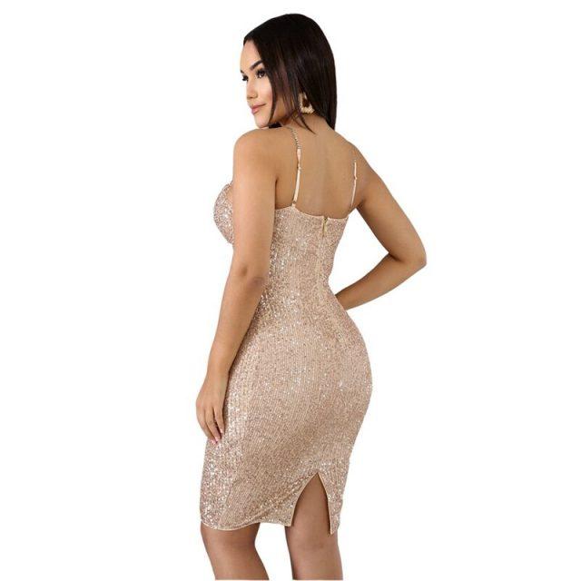 Evening Sexy Sequin Dress Women Autumn Winter Elegant Bodycon Dress Midi Split Glitter Luxury Runway Christmas Party Club Dress