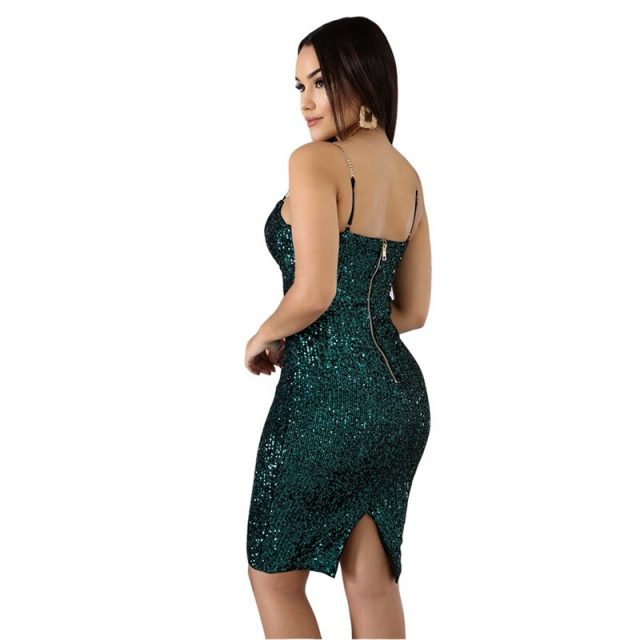 Evening Sexy Sequin Dress Women Autumn Winter Elegant Bodycon Dress Midi Split Glitter Luxury Runway Christmas Party Club Dress