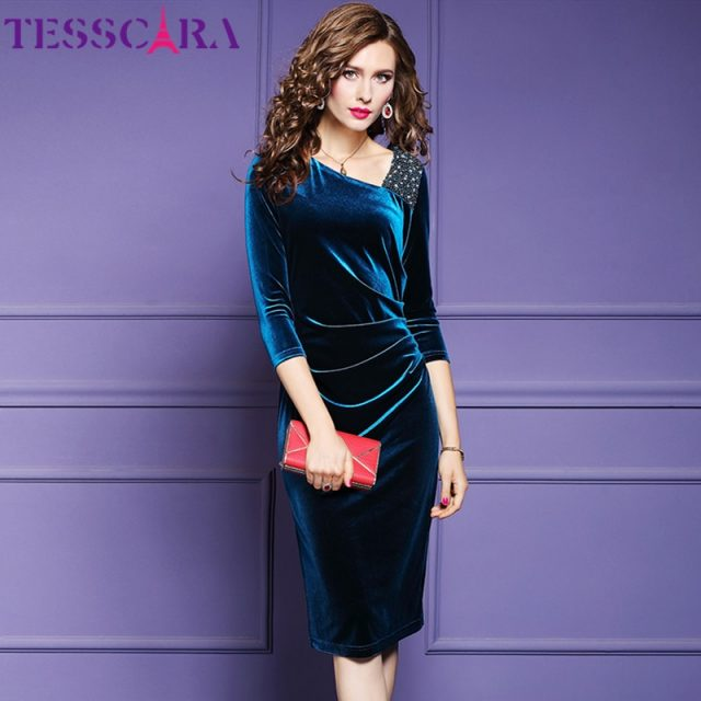 TESSCARA Women Luxury Beading Velvet Dress Festa Female Elegant Event Party Robe High Quality Designer Vintage Cocktail Vestidos