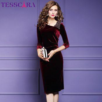 TESSCARA Women Luxury Beading Velvet Dress Festa Female Elegant Event Party Robe High Quality Designer Vintage Cocktail Vestidos