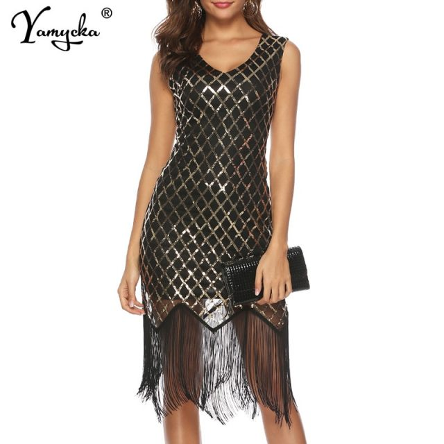 Sexy Women Summer Dress Sequins Plaid v neck bodycon Black Evening Party dress elegant tassel luxury Night club Dresses vestidos