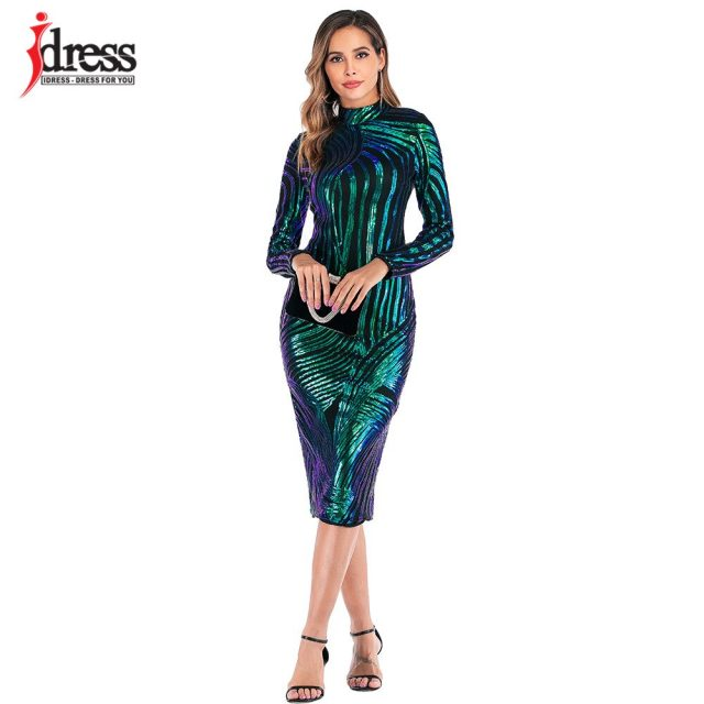 IDress Luxury Sequin Party Dress High Quality Autumn Winter Dress Women Long Sleeve Patchwork Sexy Evening Party Dress Wholesale