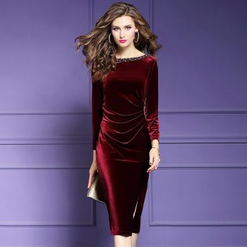 Retro velvet sexy dress 2019 NEW luxury spring Autumn Vintage Nail bead Party Dress Plus Size Women Clothing winter slim dresses