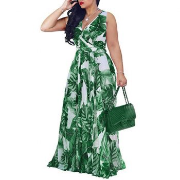 Bohemian Floral Print Long Dress For Women Plus Size Sexy V Neck High Waist Bandage Bow Tie Maxi Sundress Beach Party Vestidos