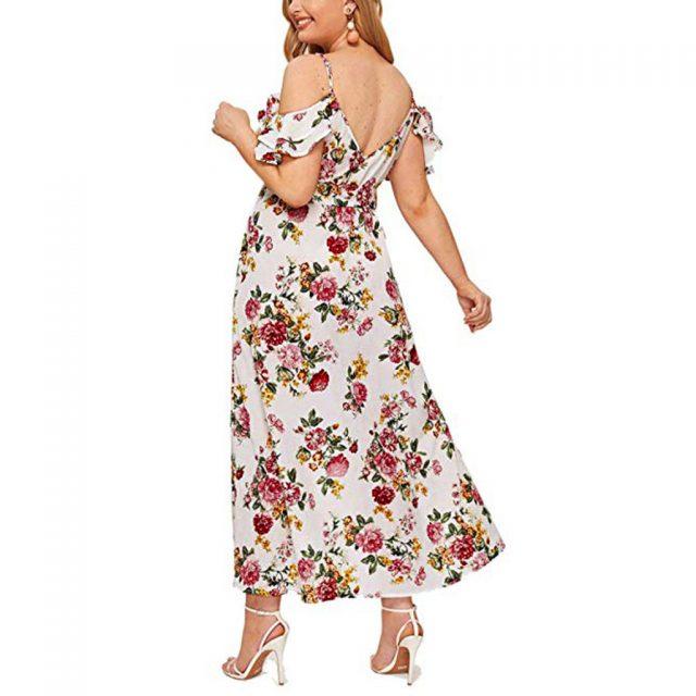 Vintage Floral Print Boho Dress Women Sexy Cold Shoulder Ruffles Maxi Long Dresses High Waist Split Sundress Party Vestidos