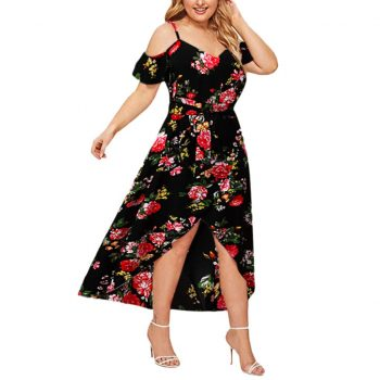 Vintage Floral Print Boho Dress Women Sexy Cold Shoulder Ruffles Maxi Long Dresses High Waist Split Sundress Party Vestidos
