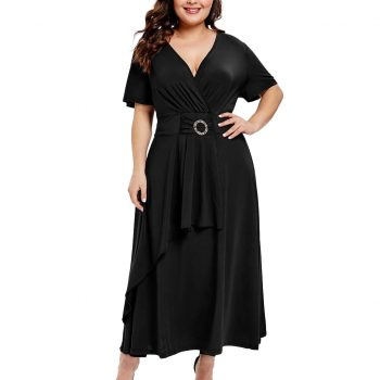 Plus Size Fashion Women Longue Dress Casual Solid Color Deep  V Neck Short Sleeve Maix Party Dresses Pleated High Waist Vestidos