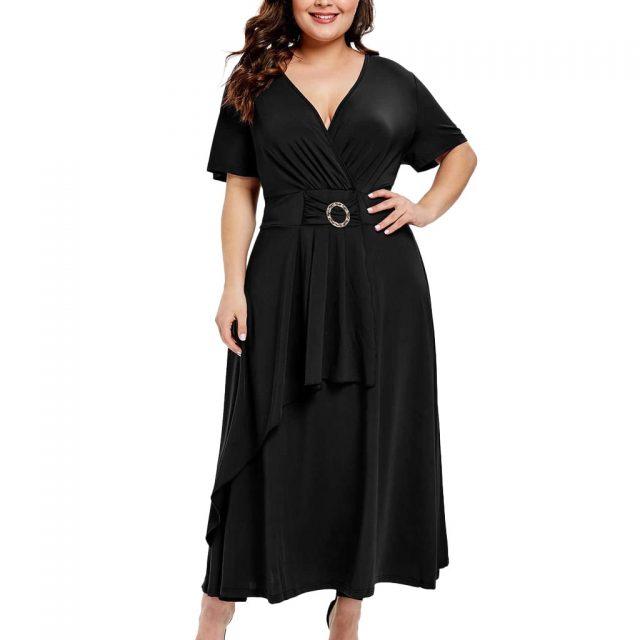 Plus Size Fashion Women Longue Dress Casual Solid Color Deep  V Neck Short Sleeve Maix Party Dresses Pleated High Waist Vestidos
