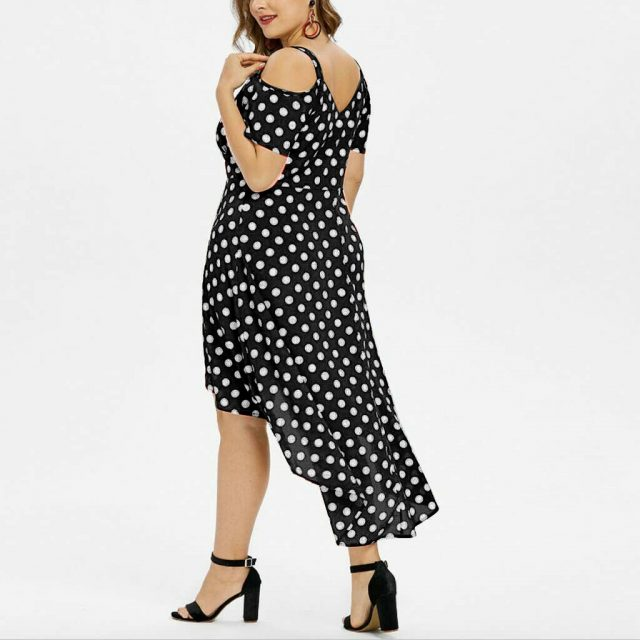 Plus Size Summer Dress For Women Ladies Lovely Polka Dot Print Dresses Sexy Sleeveless High Waist Irregular Vestidos Femme Robes