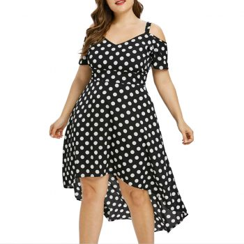 Plus Size Summer Dress For Women Ladies Lovely Polka Dot Print Dresses Sexy Sleeveless High Waist Irregular Vestidos Femme Robes