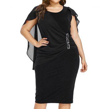 Plus Size Summer Dress For Women Ladies Casual Solid Chiffon Dresses O Neck Sleeveless High Waist Pleated Vestidos Femme Dress