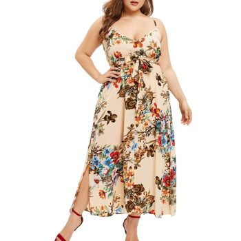 Plus Size Dress Summer Bohemian Floral Print Maxi Long Dresses Sexy V Neck Sleeveless High Waist Bow-knot Bandage Split Vestidos