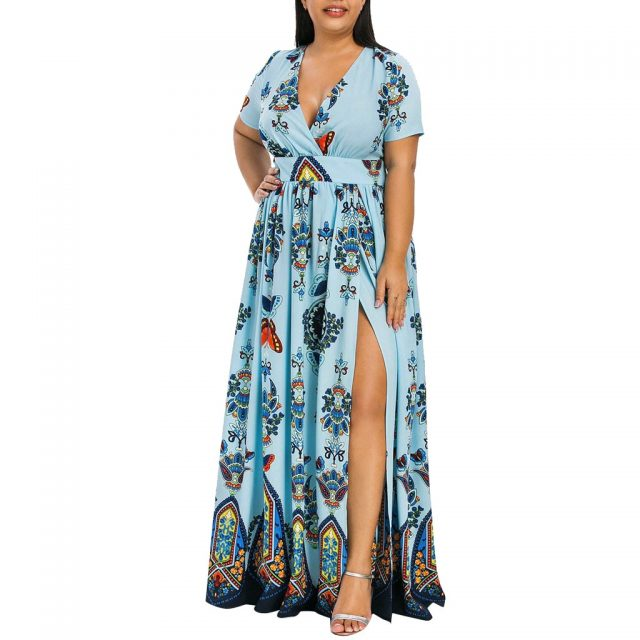 Plus Size Dress Fashion Women Butterfly Printed Long Dress V-Neck Short Sleeve Casual High Waist Pleated Side Split Vestidos New