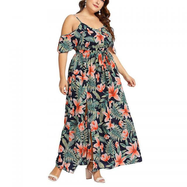 Plus Size Women Summer Dress Beach Bohemain Floral Print High Elastic Waist Long Dresses Sexy Sleeveless Side Split Maxi Vestido