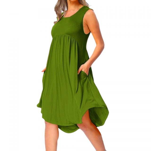 Plus Size Dress For Women 2019 Summer Casual O Neck Draped Sleeveless Solid Black White Midi Dresses Pockets Beach Vestidos #V